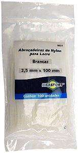 Abracadeira Nylon Brasfort 2.5mm x 100mm com 100 peças Cor: Branco