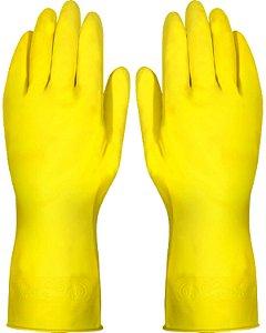 Luva Plastcor Latex Amarela Acabamento Flocado / Tam 08