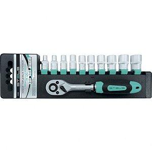Jogo de Chave Stels Catraca 1/2 Pol. Soquetes de 10 á 22mm, CRV, 11 Pçs