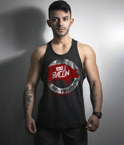Camiseta Regata Militar Magnata 100% Bacon 100% Fredoom