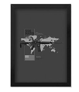 Poster Militar com Moldura Magnata 556 Nato American Guns