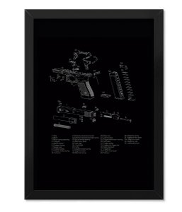 Poster Militar com Moldura Magnata Glock Parts