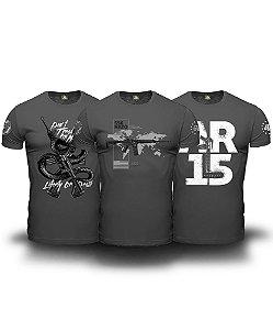 Combo 03 Camisetas Magnata 556 American Guns