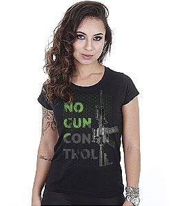 Camiseta Militar Baby Look Feminina Magnata No Gun Control