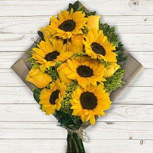 Buquê Colorê com Mix de Rosas Amarelas