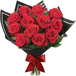 Buquê Clássico com 12 Rosas Vermelhas