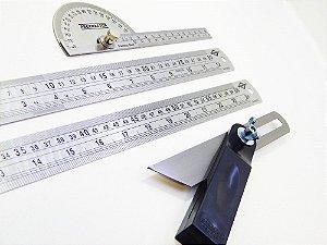 Kit Régua Inox 30 cm, 60 cm, Transferidor de Grau e Suta