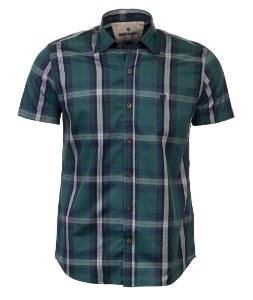 Camisa Masculina Made in Mato Xadrez Manga Curta Verde