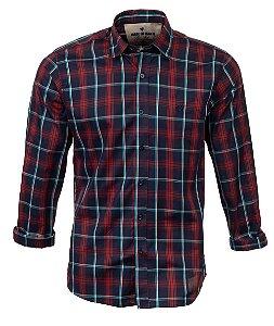 Camisa Masculina Made in Mato Xadrez Borgonha Light
