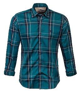 Camisa Masculina Made in Mato Xadrez Azul Petróleo
