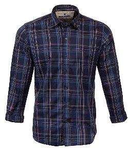Camisa Masculina Made in Mato Xadrez Dark Marinho