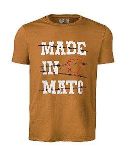 Camiseta Estampada Made in Mato Grid Marrom