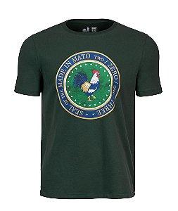 Camiseta Estampada Made in Mato Seal Rooster Verde Musgo