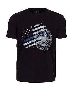 Camiseta Estampada Made in Mato New Flag Preto