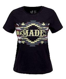 Tshirt Estampada Made in Mato Tribal Étnica Preto