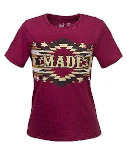 Tshirt Estampada Made in Mato Tribal Étnica Bordo