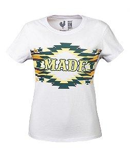 Tshirt Estampada Made in Mato Tribal Étnica Branca