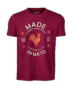 Camiseta Estampada Made in Mato Classic Handmade Bordô