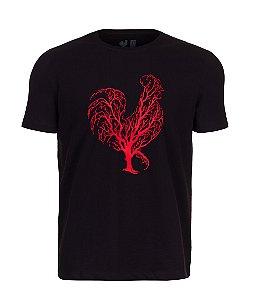 Camiseta Estampada Made in Mato Preta Arvore Vermelho
