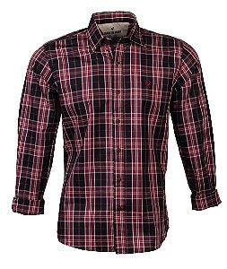 Camisa Masculina Made in Mato Xadrez Vermelho e Preto