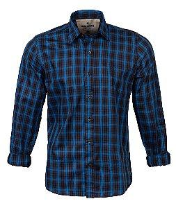 Camisa Masculina Made in Mato Xadrez Fios Azuis