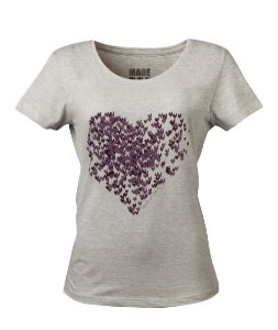 Camiseta Feminina Made in Mato Heart Mescla Claro