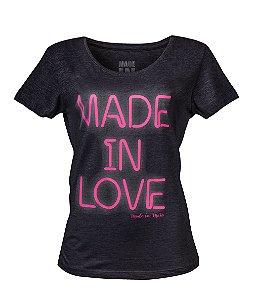 Camiseta Feminina Made in Love Mescla Escura