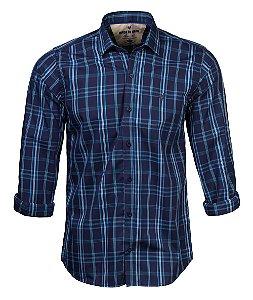 Camisa Made in Mato Masculina Slim Xadrez Azul