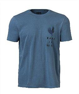 Camiseta Masculina Made in Mato Galo Mosaíco Estampa Costas Stone Azul