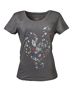 Camiseta Feminina Made in Mato Diamante Mescla