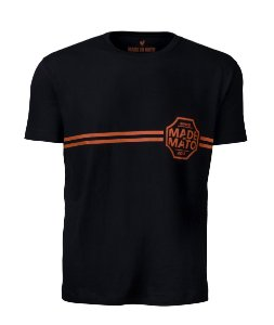 Camiseta Made in Mato Masculina Basic Stripe Preta
