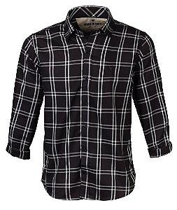 Camisa Made in Mato Masculina Slim Xadrez Preta