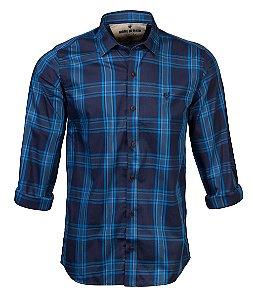 Camisa Made in Mato Masculina Slim Xadrez Blue
