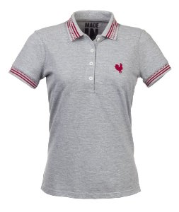 Camisa Polo Femina Made in Mato Mescla Clara com Friso
