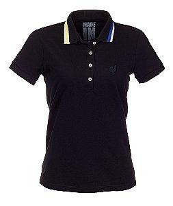 Camisa Polo Feminina Made in Mato Preta com Friso Colorido