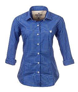 Camisa Made in Mato Feminina Xadrez Azul