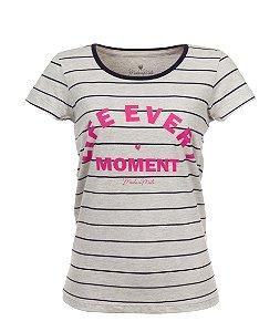 Camiseta Long Feminina Estampada Life Every Moment Mescla