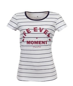 Camiseta Long Feminina Estampada Life Every Moment Branca