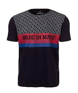 Camiseta Made in Mato Preta Dupla Estampa