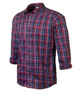 Camisa Made In Mato Manga Longa Xadrez Vermelha e Azul