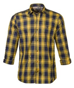 Camisa Made In Mato Manga Longa Xadrez Marinho e Amarela