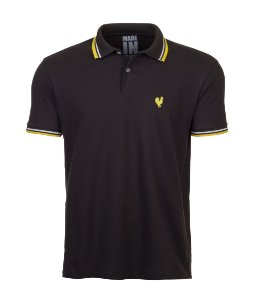 Polo Masculina Made in Mato Chumbo com Filete Amarelo