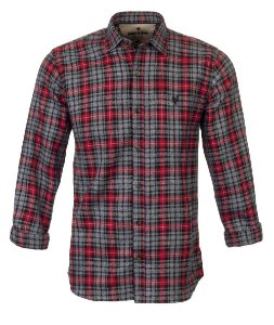 Camisa Made In Mato Flanelada Manga Longa Xadrez vermelha e cinza