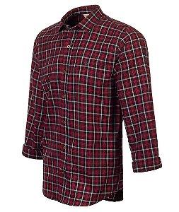 Camisa Made In Mato Flanelada Manga Longa Xadrez vermelha