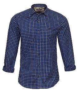 Camisa Masculina  Made in Mato Xadrez Tons de Azul