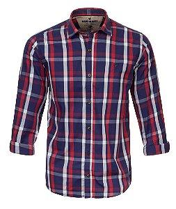 Camisa Made in Mato Masculina Xadrez Royal e Vermelho