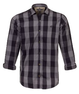 Camisa Made in Mato Masculina Xadrez Preta e Chumbo