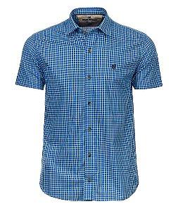 Camisa Made in Mato Masculina Xadrez Manga Curta Azul