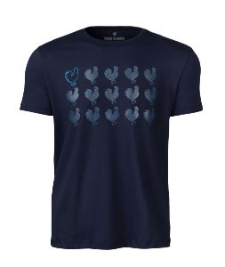 Camiseta Made in Mato Rooster Azul Marinho