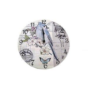 Relógio Parede Pássaro Azul